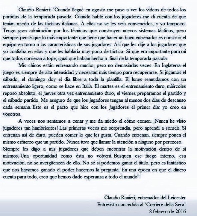 Carta Claudio Ranieri. Leicester 15/16