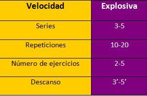Variables Entrenamiento Fuerza Velocidad