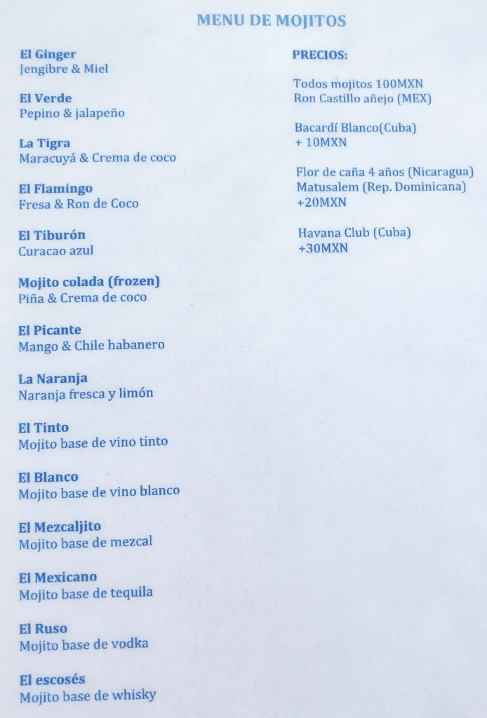 Skybar Alma Bar. Carta de Mojitos. Isla Holbox
