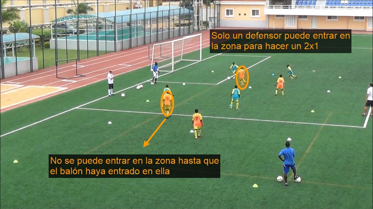 Ejercicio entrenamiento fútbol. Posesión 4x4 en 4 subespacios para provocar situaciones de 2x1 y batir línea adversaria