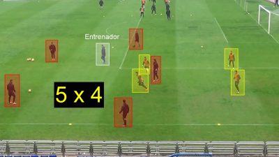 Fútbol. Ejercicio de entrenamiento 5×4 con 3 porterías con el objetivo de tapar la línea de pase.