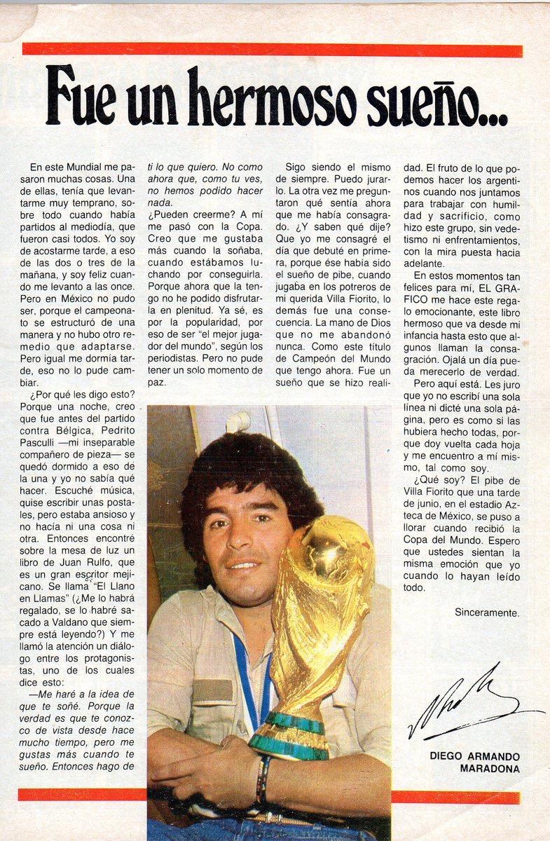 """Artículo de Diego Armando Maradona tras ganar el Mundial de México 86 con su gol """"la mano de Dios"""""""